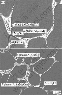 图3 Al-6.4Zn-2.35Mg-1.92Cu合金的背散射电子像-热力学计算优化Al